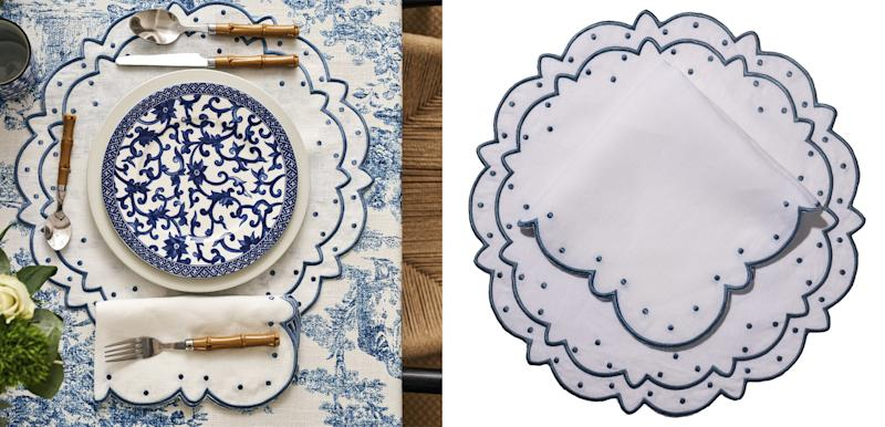Loulou LaDune Classic Polka linen placemat ($95) and dinner napkin ($95) in white with azure blue embroidery; Toile de Jouy tablecloths; $300. Loulouladune.com