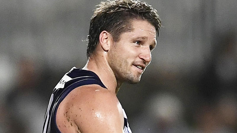 Fremantle forward Jesse Hogan has been fined $8000 for breaching hotel quarantine rules following the end of the AFL regular season. (Photo by Ian Hitchcock/Getty Images)