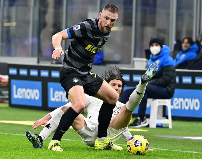 Slovak wall: Milan Skriniar (top)starred as Inter Milan won Serie A for the first time in a decade
