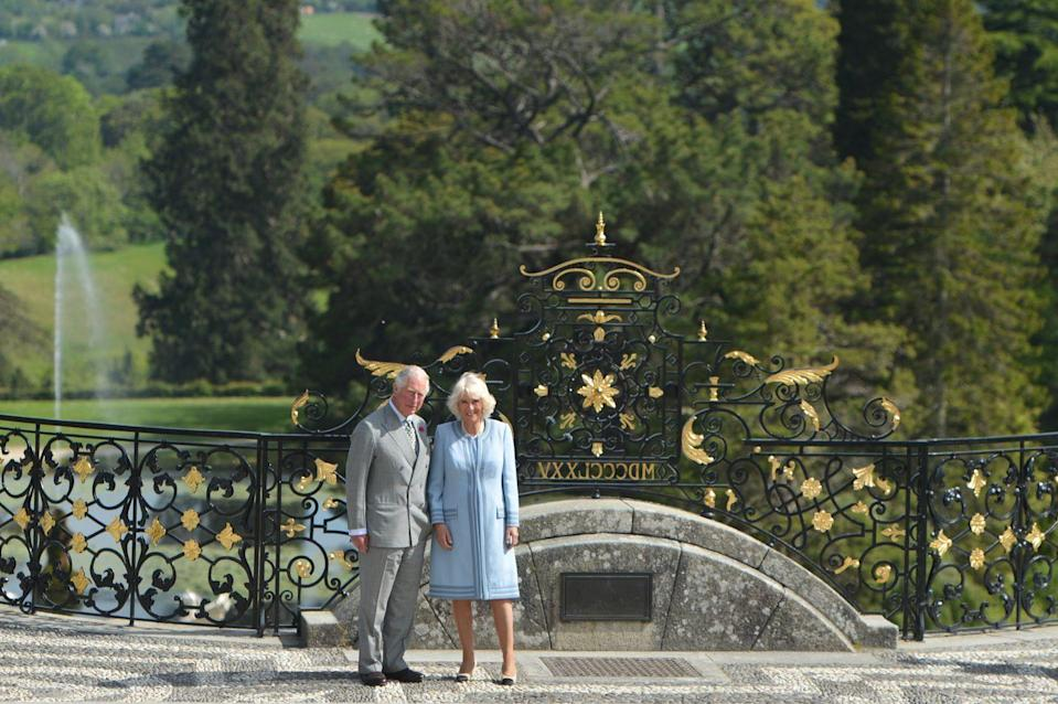 <p>Prince Charles and Camilla pose at the Powerscourt House and Gardens in 2019 during a visit to the Republic of Ireland. </p>