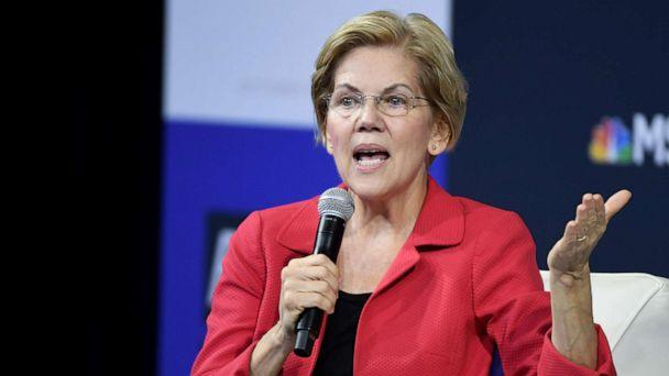 PHOTO: Democratic presidential candidate and Sen. Elizabeth Warren speaks during the 2020 Gun Safety Forum hosted by gun control activist groups Giffords and March for Our Lives at Enclave on Oct. 2, 2019, in Las Vegas. (Ethan Miller/Getty Images)