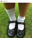 <p>The former Britain's Got Talent judge shared this adorable photo of four-year-old daughter Holly's shoes - presumably to tell her off with when they come home covered in mud. <i>(Photo: Instagram)</i></p>