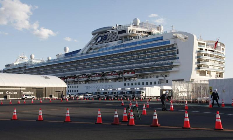 The quarantined cruise ship Diamond Princess anchored in Yokohama, near Tokyo