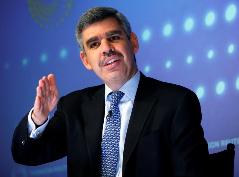 El-Erian speaks during an interview at Thomson Reuters in New York