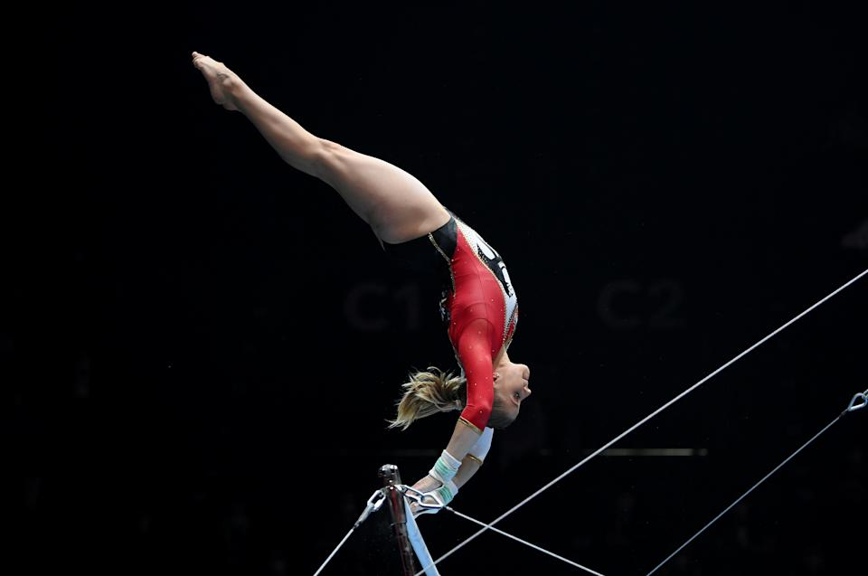 BASEL, SWITZERLAND - APRIL 24: Elisabeth Seitz of Germany competes on Uneven Bars during the Apparatus Finals of the European Artistic Gymnastics Championships at St. Jakobshalle on April 24, 2021 in Basel, Switzerland. (Photo by Matthias Hangst/Getty Images)