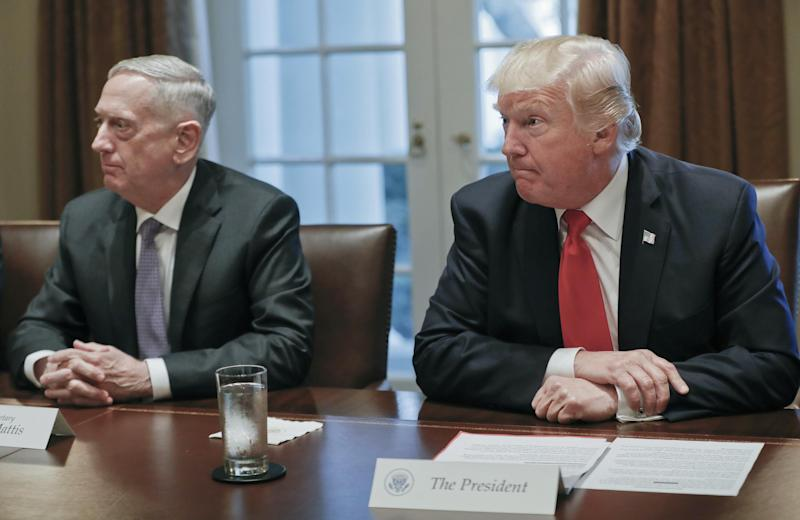 President Donald Trump during a briefing with Senior Military leaders. Sitting on the left is Defence Secretary James Mattis: AP