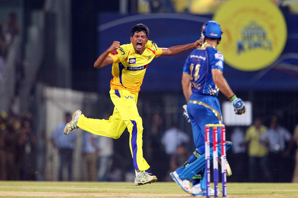 Ankit Singh Rajpoot celebrates the wicket of Ricky Ponting during match 5 of of the Pepsi Indian Premier League between The Chennai Superkings and the Mumbai Indians held at the MA Chidambaram Stadiumin Chennai on the 6th April 2013..Photo by Ron Gaunt-IPL-SPORTZPICS ..Use of this image is subject to the terms and conditions as outlined by the BCCI. These terms can be found by following this link:..https://ec.yimg.com/ec?url=http%3a%2f%2fwww.sportzpics.co.za%2fimage%2fI0000SoRagM2cIEc&t=1500871868&sig=QCqmSMwRyNYdaVBO60lDsg--~C