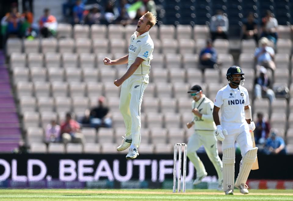 SOUTHAMPTON, ENGLAND - JUNE 23: Kyle Jamieson of New Zealand celebrates dismissing Cheteshwar Pujara of India during Day 6 of the ICC World Test Championship Final between India and New Zealand at The Ageas Bowl on June 23, 2021 in Southampton, England. (Photo by Gareth Copley-ICC/ICC via Getty Images)