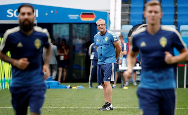 Soccer Football - World Cup - Sweden Training - Fisht Stadium, Sochi, Russia - June 22, 2018 Sweden coach Janne Andersson during training REUTERS/Francois Lenoir