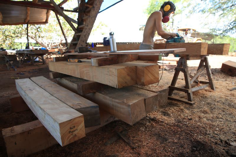 A worker cuts wood for the construction of Ceiba, an ecological sailboat that will work with solar panels, electric and hydraulic energy to reduce to almost zero its carbon footprint, at a shipyard in Punta Morales