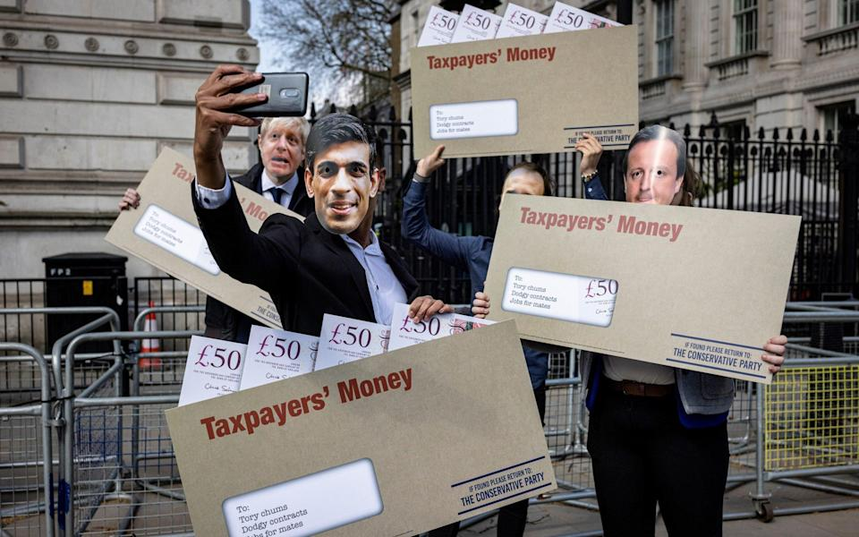 Earlier this week Labour activists dressed as Rishi Sunak and others, as part of a stunt over the lobbying row - Getty