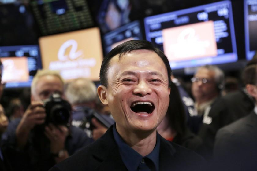 Alibaba founder Jack Ma is all smiles during the company's IPO at the New York Stock Exchange in September.