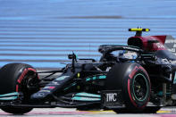 Mercedes driver Valtteri Bottas of Finland steers his car during the second free practice for the French Formula One Grand Prix at the Paul Ricard racetrack in Le Castellet, southern France, Friday, June 18, 2021. The French Grand Prix will be held on Sunday. (AP Photo/Francois Mori)