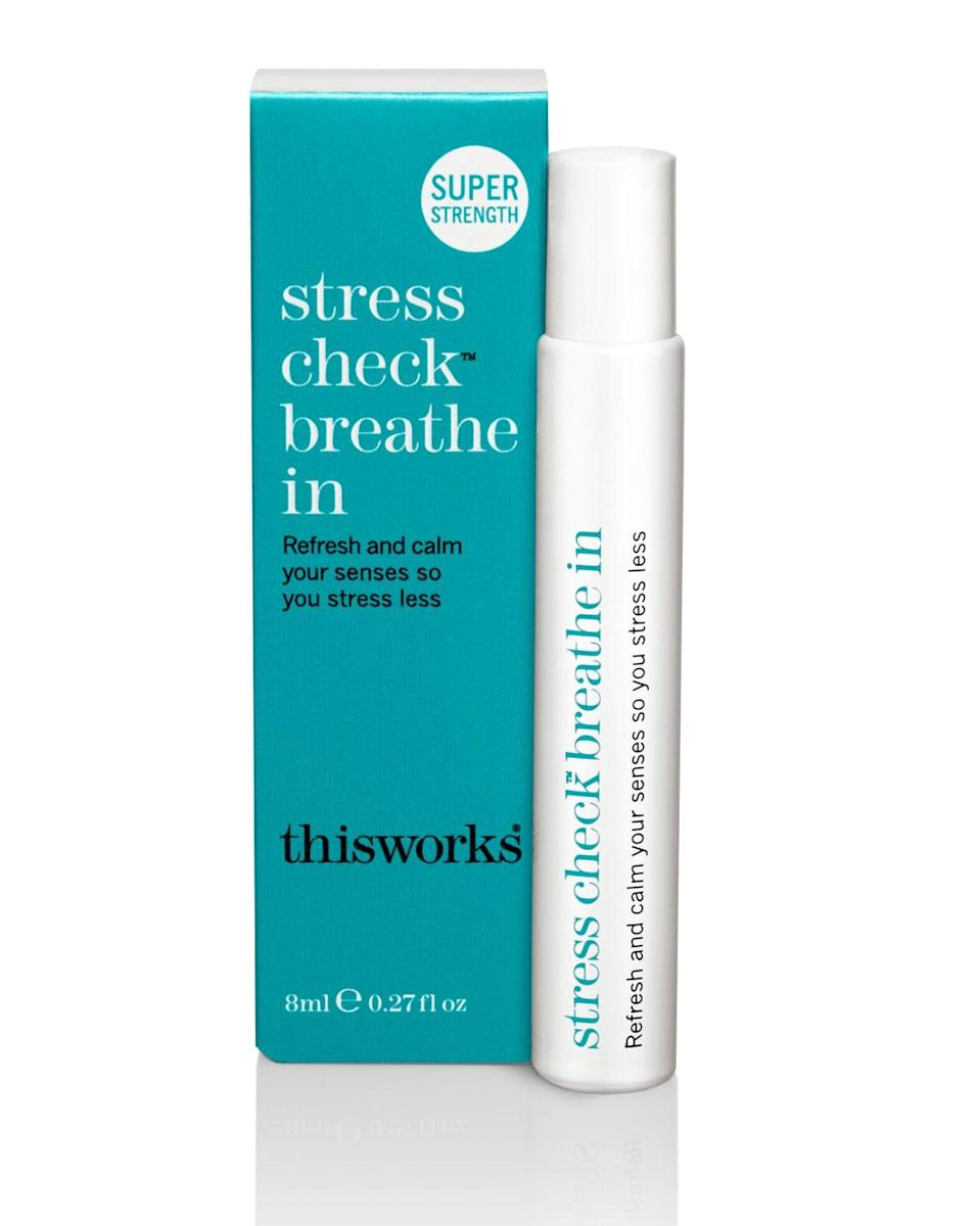 <p><span>This Works Stress Check Breathe In</span> ($30) rollerball remedy has a blend of soothing fragrances like lavender, eucalyptus, and frankincense. </p>
