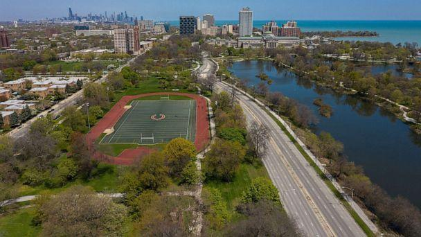 PHOTO: In this May 13, 2020, file photo, an aerial view shows the proposed site for the Obama Presidential Center in Chicago's Jackson Park. (Chicago Tribune/TNS via Getty Images, FILE)