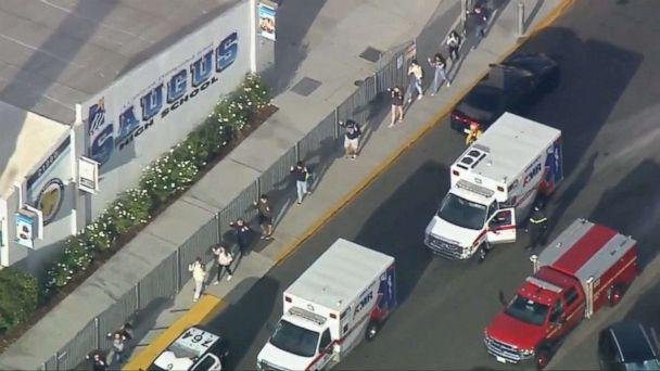 PHOTO: Students are evacuated from Saugus High School in Santa Clarita, Calif., near Los Angeles after reports of a shooting, Nov. 14, 2019. (KTTV)