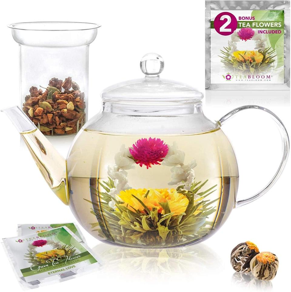 <p>The <span>Teabloom Stovetop &amp; Microwave Safe Glass Teapot With Removable Loose Tea Glass Infuser</span> ($35) is a gorgeous, aesthetic teapot that will make tea time a fun treat.</p>