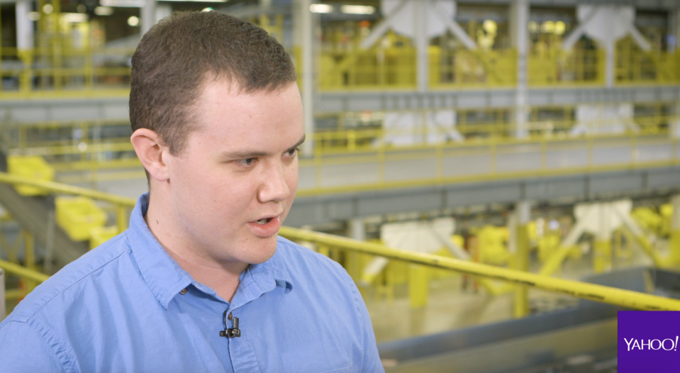 Alex Ries is an operations manager at Amazon's Tracy, California-based fulfillment center, a sprawling 1.2 million square foot facility roughly 60 miles away from San Francisco that employs around 3,500 employees.
