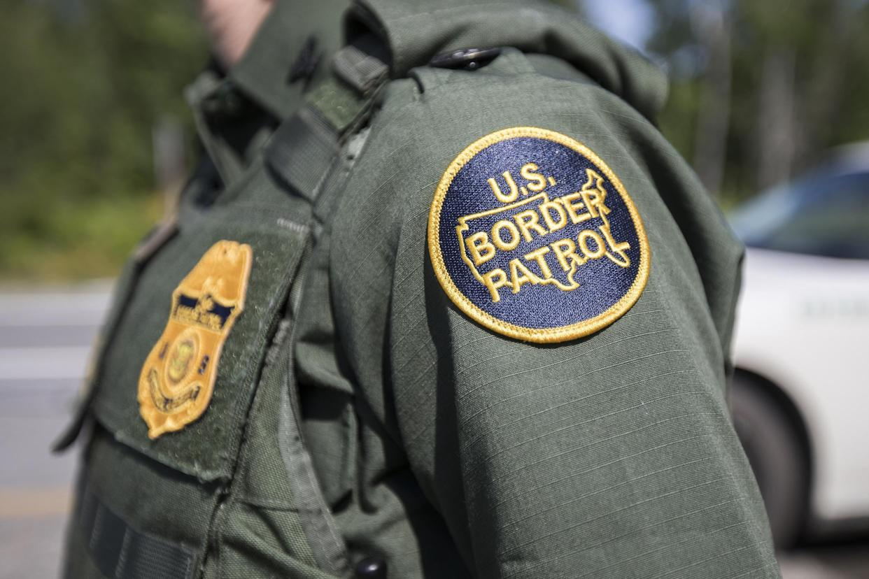 A patch on the uniform of a U.S. Border Patrol agent at a highway checkpoint on 1 August 2018 in West Enfield, Maine: Getty Images