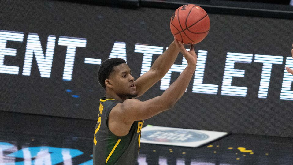April 5, 2021; Indianapolis, IN, USA; Baylor Bears guard Jared Butler (12) in the second half during the national championship game in the Final Four of the 2021 NCAA Tournament against the Gonzaga Bulldogs at Lucas Oil Stadium. Mandatory Credit: Kyle Terada-USA TODAY Sports ORG XMIT: IMAGN-446986 ORIG FILE ID:  20210409_kkt_st3_222.jpg