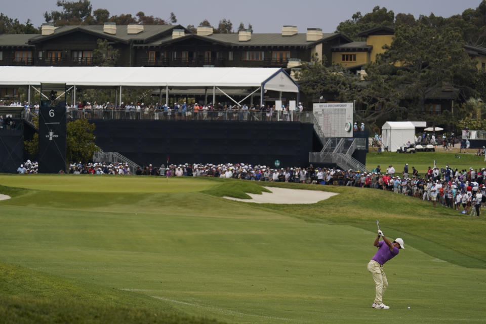 Rory McIlroy, of Northern Ireland, hits from the sixth fairway during the final round of the U.S. Open Golf Championship, Sunday, June 20, 2021, at Torrey Pines Golf Course in San Diego. (AP Photo/Gregory Bull)