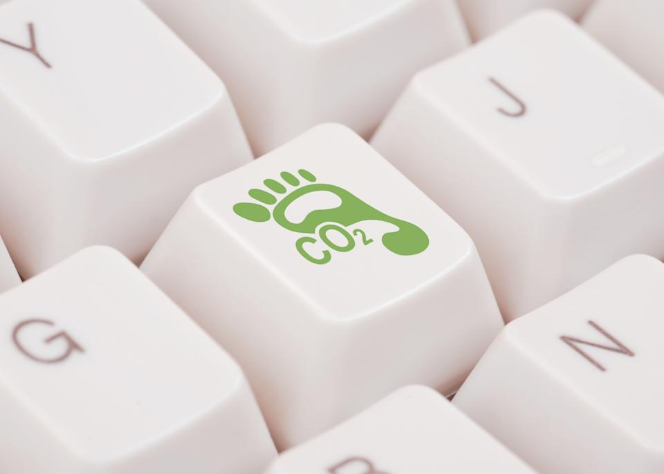 CO2 Footprint icon on a computer key