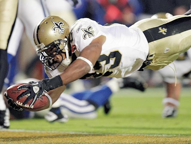 New Orleans Saints running back Pierre Thomas helped turn the tide against the Indianapolis Colts in Super Bowl XLIV. (Photo by Al Diaz/Miami Herald/Tribune News Service via Getty Images)