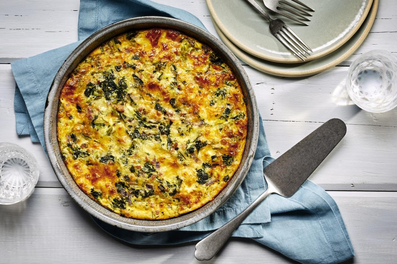 """<p><b>Recipe: </b><a href=""""https://www.southernliving.com/recipes/crustless-spinach-quiche""""><b>Crustless Ham and Spinach Quiche</b></a></p> <p>This crustless quiche is a great low-calorie brunch option.</p>"""