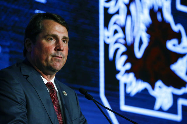South Carolina head coach Will Muschamp speaks to reporters during the NCAA college football Southeastern Conference Media Days, Wednesday, July 17, 2019, in Hoover, Ala. (AP Photo/Butch Dill)
