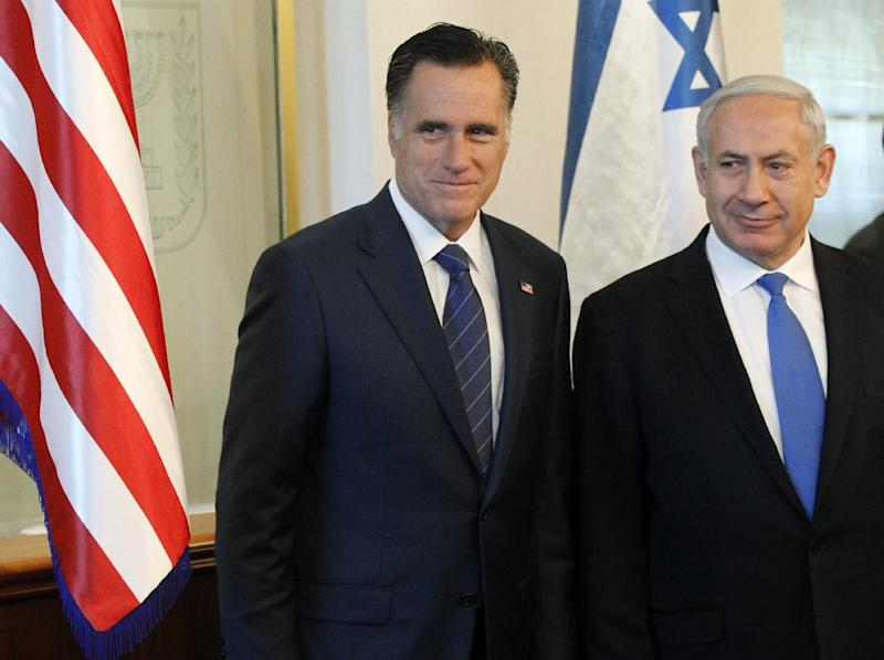 FILE - In this July 29, 2012 file photo, Republican presidential candidate, former Massachusetts Gov. Mitt Romney meets with Israel's Prime Minister Benjamin Netanyahu in Jerusalem. It is a taboo for Israeli leaders to give even the slightest hint of favoritism in politics in the United States, Israel's closest ally. So some Israelis are squirming over a perception that Prime Minister Benjamin Netanyahu is siding with Republican Mitt Romney in the U.S. presidential race, in the belief he would take a harder line on archenemy Iran. That, some fear, is putting Israel's alliance with Washington at risk if Barack Obama wins. (AP Photo/Charles Dharapak, File)