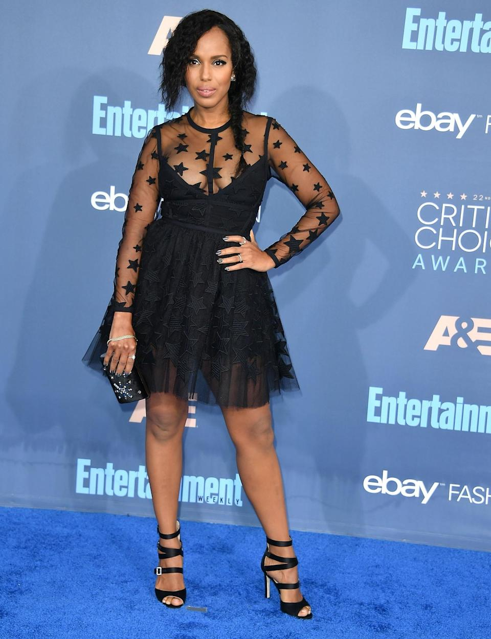 <p>Sheer panels, star prints and plenty of tulle; 'Scandal' star Kerry gives us all the festive fashion goals in this little number. [Photo: Getty] </p>