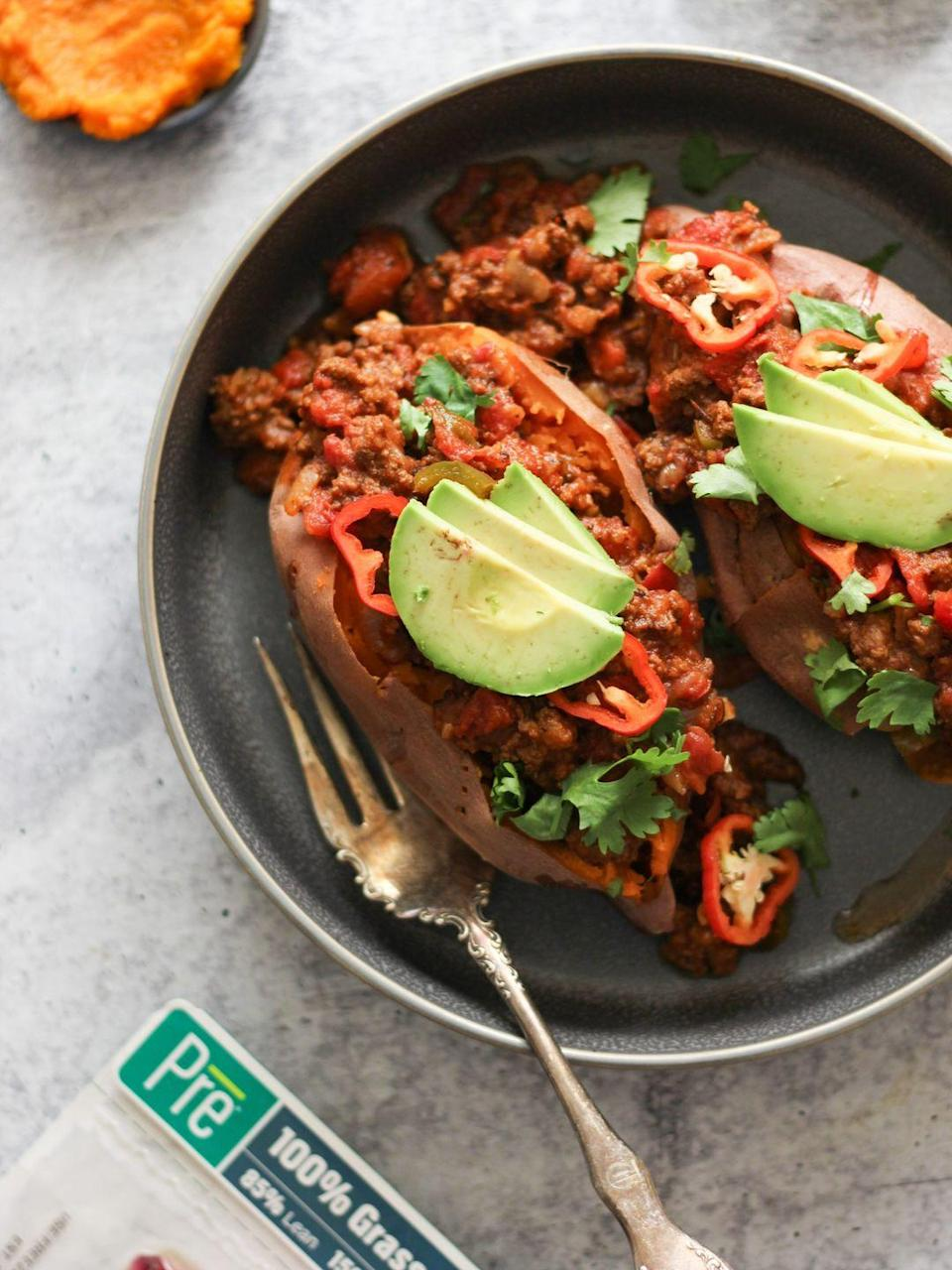 "<p>Pro tip: Serve this cozy pumpkin chili inside a baked sweet potato for an extra-tasty, hearty meal.</p><p><em><a href=""https://cleanfoodiecravings.com/game-day-pumpkin-chili-whole30-keto/"" rel=""nofollow noopener"" target=""_blank"" data-ylk=""slk:Get the recipe from Clean Foodie Cravings »"" class=""link rapid-noclick-resp"">Get the recipe from Clean Foodie Cravings »</a></em></p><p><strong>RELATED: </strong><a href=""https://www.goodhousekeeping.com/food-recipes/g657/sweet-potato-recipes/"" rel=""nofollow noopener"" target=""_blank"" data-ylk=""slk:40 Best Sweet Potato Recipes That Are Perfect for Any Fall Occasion"" class=""link rapid-noclick-resp"">40 Best Sweet Potato Recipes That Are Perfect for Any Fall Occasion</a><br></p>"