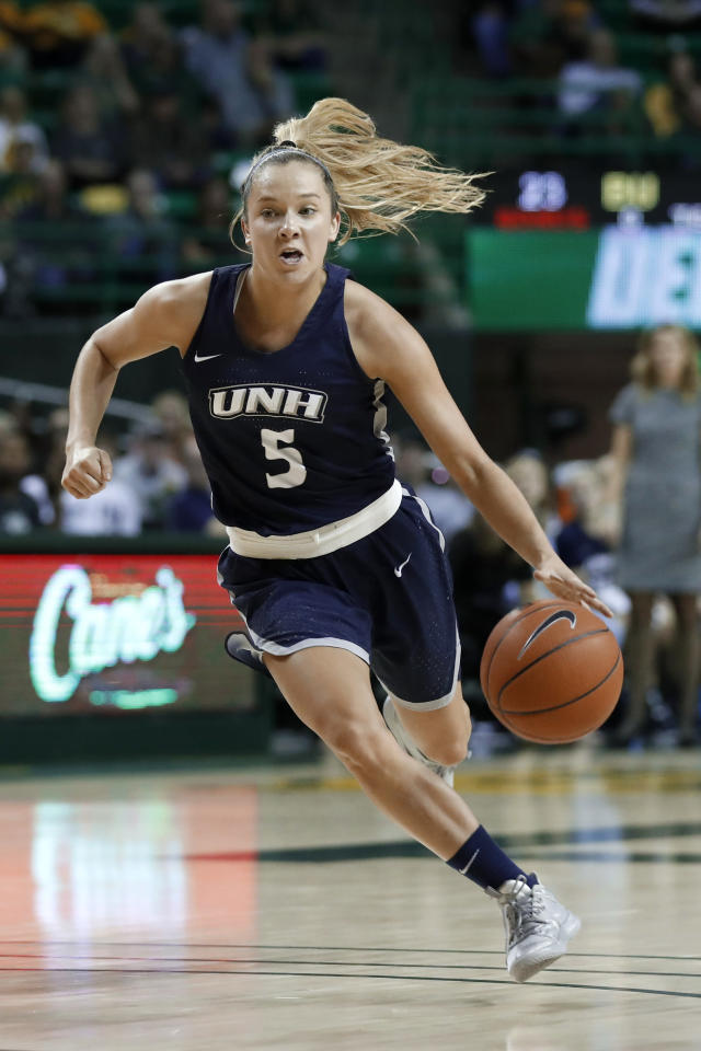 New Hampshire guard Amanda Torres (5) advances the ball against Baylor in the first half of an NCAA college basketball game in Waco, Texas, Tuesday, Nov. 5, 2019. (AP Photo/Tony Gutierrez)