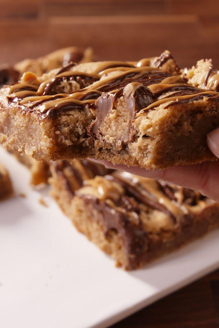 """<p>These are Reese's overload, and we aren't mad about it.</p><p>Get the recipe from <a href=""""/cooking/recipe-ideas/recipes/a49721/reeses-peanut-butter-blondies-recipe/"""" data-ylk=""""slk:Delish"""" class=""""link rapid-noclick-resp"""">Delish</a>.</p>"""