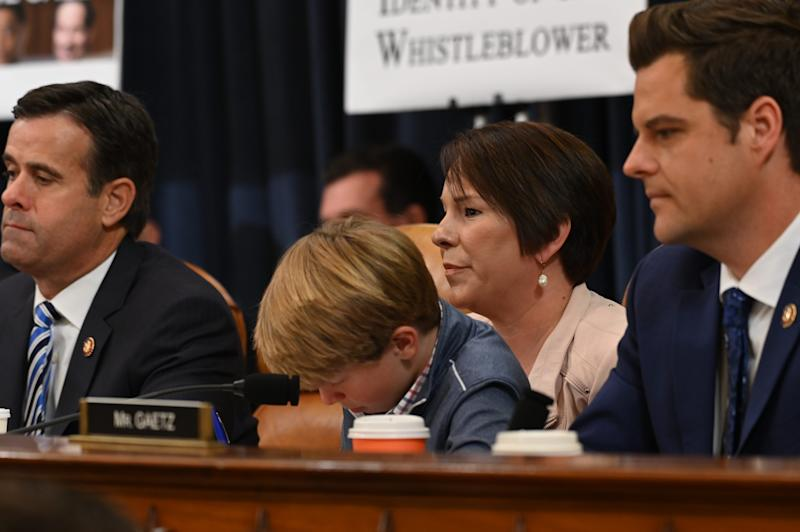 George Roby sits with his mother Rep. Martha Roby, R-AL. as the House Judiciary Committee takes a roll call on the articles of impeachment against President Donald J. Trump in Washington, DC on Dec. 13, 2019.