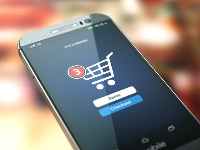 A shopping cart item on a smartphone.