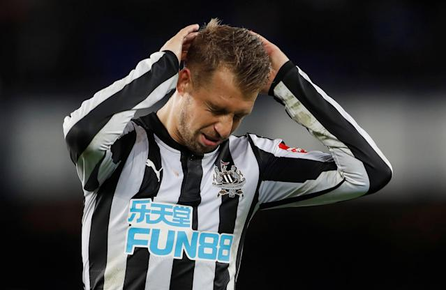 """Soccer Football - Premier League - Everton v Newcastle United - Goodison Park, Liverpool, Britain - April 23, 2018 Newcastle United's Florian Lejeune reacts Action Images via Reuters/Lee Smith EDITORIAL USE ONLY. No use with unauthorized audio, video, data, fixture lists, club/league logos or """"live"""" services. Online in-match use limited to 75 images, no video emulation. No use in betting, games or single club/league/player publications. Please contact your account representative for further details."""