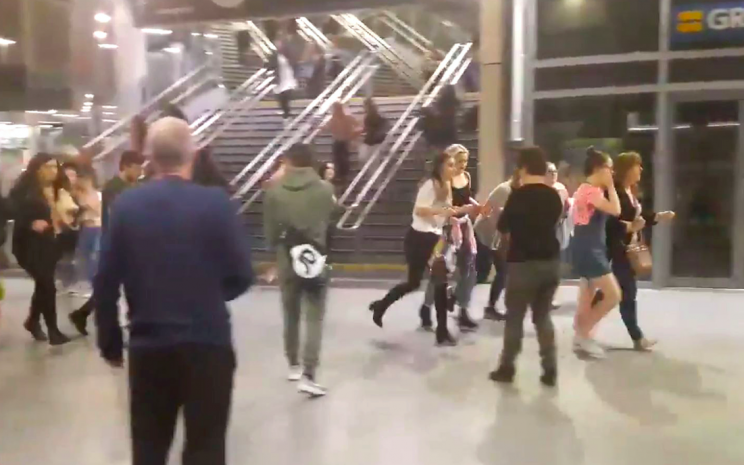 Images from inside the Manchester Arena showed concert-goers fleeing in terror