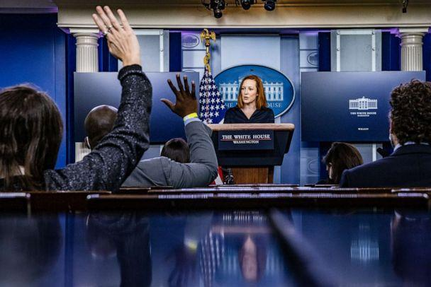 PHOTO: White House Press Secretary Jen Psaki speaks during the daily press briefing in the Brady Press Briefing Room at the White House, March 4, 2021, in Washington, D.C. (Samuel Corum/Getty Images, FILE)