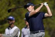 Matthew Fitzpatrick, of England, tees off on the fourth hole during the first round of the Genesis Invitational golf tournament at Riviera Country Club, Thursday, Feb. 18, 2021, in the Pacific Palisades area of Los Angeles. (AP Photo/Ryan Kang)
