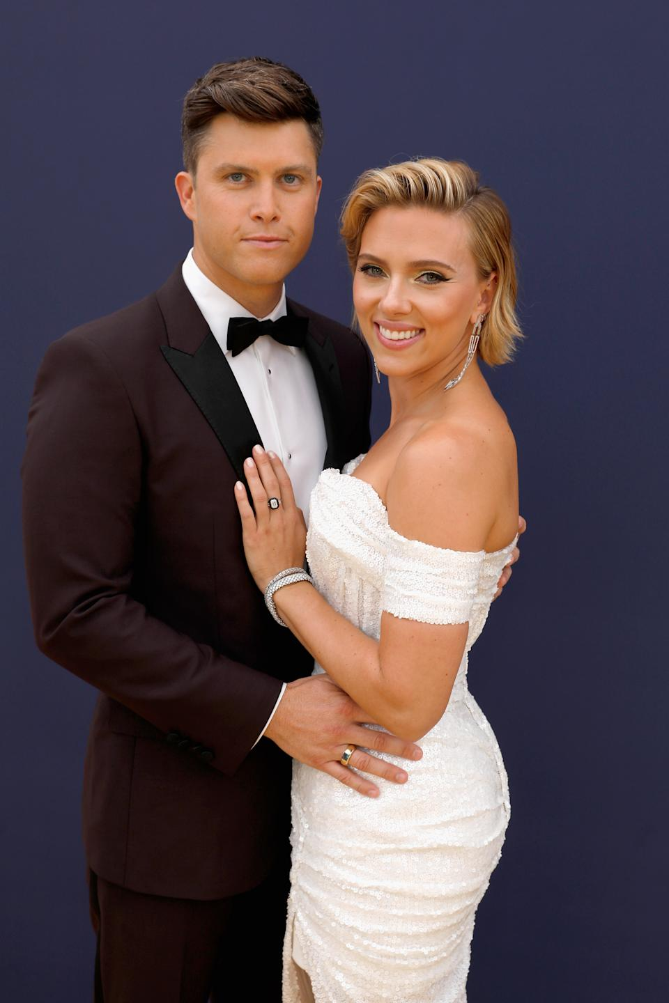 Scarlett Johansson and Colin Jost arrive to the 70th Annual Primetime Emmy Awards held at the Microsoft Theater on September 17, 2018.  NUP_184217