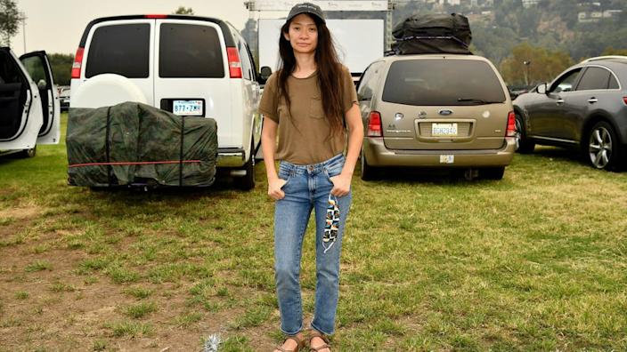 Chloé Zhao at the drive-in premier of Nomadland on Friday