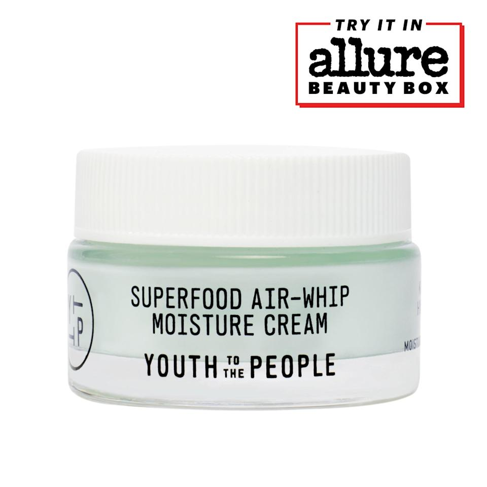 """<p>The texture is weightless, but don't let that fool you. The Youth to the People Superfood Air-Whip Moisture Cream is loaded with leafy ingredients such as spinach and kale, making the antioxidant-rich formula one lean, green, free-radical-fighting machine. Layer it under sunscreen (SPF 30 or higher) daily.</p> <p>You'll find the Youth to the People Superfood Air-Whip Moisture Cream in the <a href=""""https://subscribe.allure.com/subscribe/allure/141075?source=EDT_ALB_EDIT_GALLERYINCL_YTTP_0_BOB21_ZZ"""" rel=""""nofollow noopener"""" target=""""_blank"""" data-ylk=""""slk:Limited-Edition Allure Best of Beauty Box"""" class=""""link rapid-noclick-resp"""">Limited-Edition <em>Allure</em> Best of Beauty Box</a>. For just $65 (or $40 exclusively for <a href=""""https://subscribe.allure.com/subscribe/allure/141075?source=EDT_ALB_EDIT_GALLERYINCL_YTTP_0_BOB21_ZZ"""" rel=""""nofollow noopener"""" target=""""_blank"""" data-ylk=""""slk:Allure Beauty Box members"""" class=""""link rapid-noclick-resp""""><em>Allure</em> Beauty Box members</a>), you'll get beauty products worth $210 in value.</p>"""