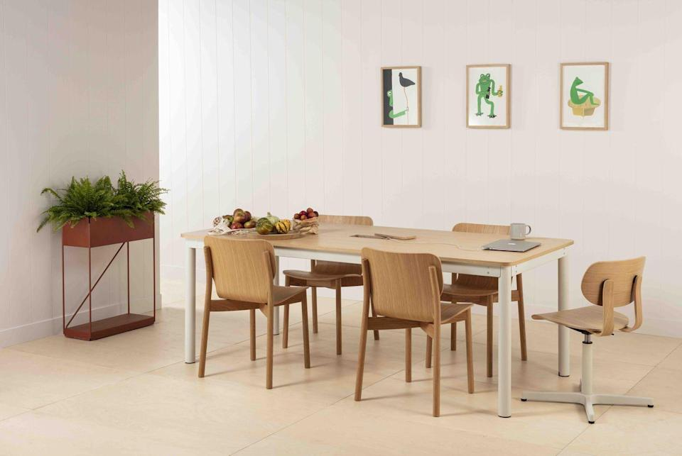 """<p>No room for a dedicated desk? Very Good & Proper's 'Live/Work' table has a tactile oak top and a hollow leg to hide wires. Team with the brand's stylish laptop stand and you can go from dinner party to work meeting in an instant. Table, from £1,295; laptop riser, £95, <a href=""""http://www.verygoodandproper.co.uk/"""" rel=""""nofollow noopener"""" target=""""_blank"""" data-ylk=""""slk:verygoodandproper.co.uk"""" class=""""link rapid-noclick-resp"""">verygoodandproper.co.uk</a></p>"""