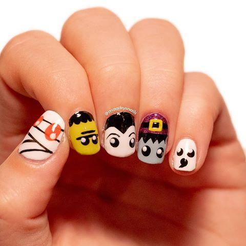 """<p>These cartoon-like characters would be suitable for kids and adults. Each unique nail is created by breaking the design down into simple shapes. Dotting tools when come in handy when painting the eyes.</p><p><a class=""""link rapid-noclick-resp"""" href=""""https://www.amazon.com/JSDOIN-Dotting-Tool-Paint-Manicure/dp/B07GBS9WLX/?tag=syn-yahoo-20&ascsubtag=%5Bartid%7C10050.g.33512580%5Bsrc%7Cyahoo-us"""" rel=""""nofollow noopener"""" target=""""_blank"""" data-ylk=""""slk:SHOP DOTTING TOOLS FOR NAILS"""">SHOP DOTTING TOOLS FOR NAILS </a></p><p><a href=""""https://www.instagram.com/p/CDUWMknjiHC/?utm_source=ig_embed&utm_campaign=loading"""" rel=""""nofollow noopener"""" target=""""_blank"""" data-ylk=""""slk:See the original post on Instagram"""" class=""""link rapid-noclick-resp"""">See the original post on Instagram</a></p>"""