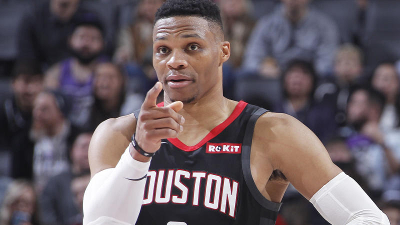 Russell Westbrook's improved free throw shooting has helped give his fantasy value a much-needed boost. (Photo by Rocky Widner/NBAE via Getty Images)