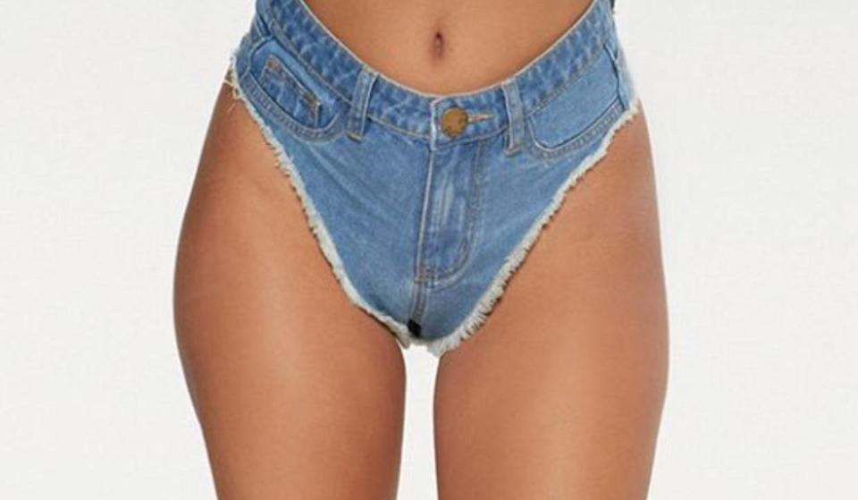 These denim thong shorts are like nothing you've ever seen