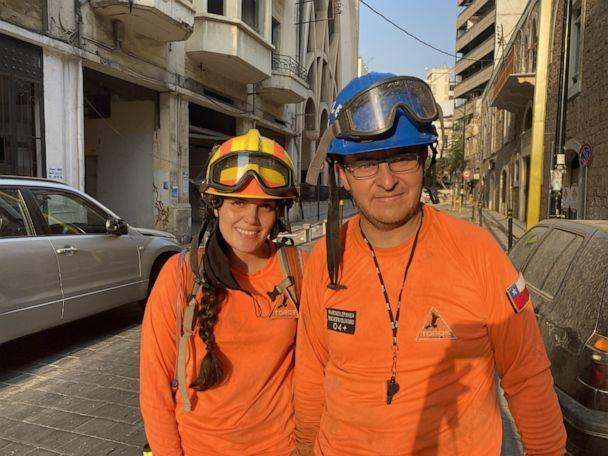 PHOTO: Francisco Lermanda, head of the Chilean rescue team looking for life inside a collapsed building in Beirut, and Claudia, a Chilean rescue team member, were applauded for their effort despite coming up empty in the search. (ABC News)