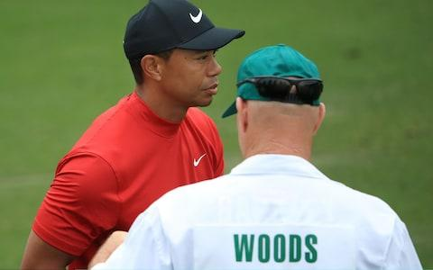 <span>Red letter day? Tiger Woods with caddie Joe LaCava</span> <span>Credit: Getty Images </span>