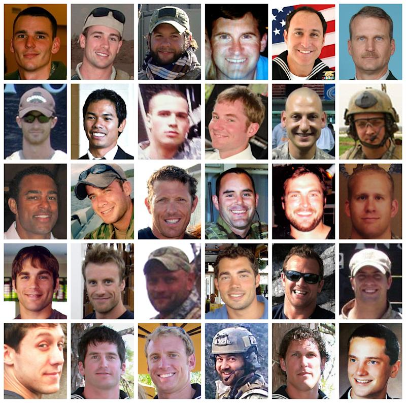 PHOTOS ARE ORIENTED IN ALPHABETICAL ORDER BY LAST NAME FROM TOP LEFT TO BOTTOM RIGHT -This combo shows the 30 troops killed in a helicopter downing in Afghanistan on Saturday, Aug. 6, 2011.  The Pentagon on Thursday, Aug. 11, 2011 identified the Americans as 17 members of the elite Navy SEALs, five Naval Special Warfare personnel who support the SEALs, three Air Force Special Operations personnel and an Army helicopter crew of five. (AP Photo)